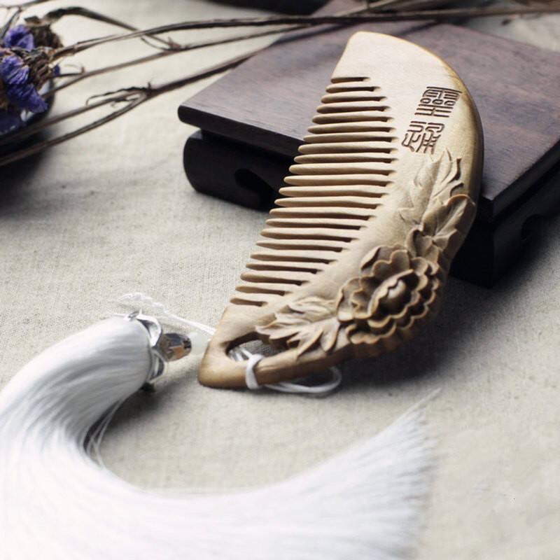 艾唐 中国风雕花梳