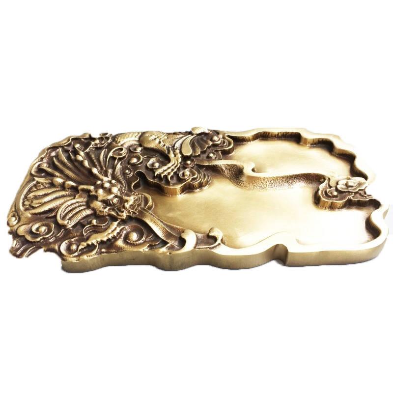 铜珍  黄铜浮雕砚台